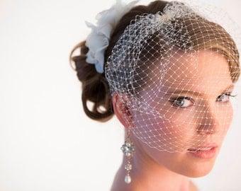 Bridal Veil, Mini birdcage Veil, Blusher Veil, Face Veil, Ivory birdcage veil