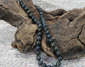 "Dark green lapis lazuli pyrite necklace 21"" long semiprecious stone jewelry packaged in a colorful gift bag 10679"