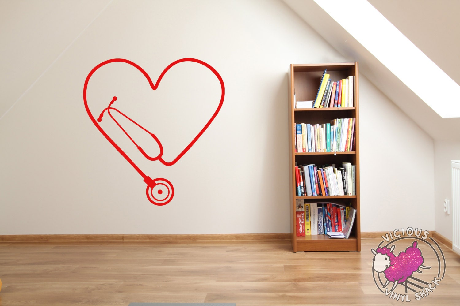stethoscope heart cutout vinyl wall decal stickers multiple zoom