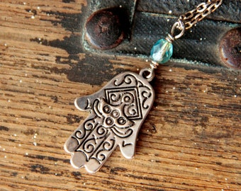 Hand necklace - Hamsa Hand of Fatima jewelry, sparkly aqua blue green bead, Spiritual amulet for divine protection om boho gypsy free spirit