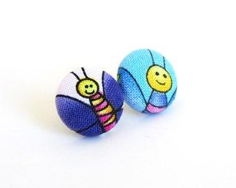SALE Butterfly button earrings - dark purple stud earrings - blue fabric earrings funky animal