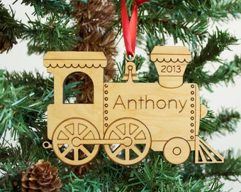 Wooden Train Ornament Baby's First Christmas Personalized Kids