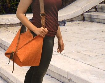 Hobo, across body bag in stonewashed canvas with leather details,Harlequin inOrange MADE TO ORDER