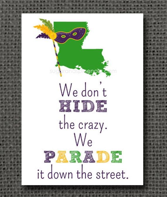 5x7 Mardi Gras Print - King Cake, Parade, New Orleans, NOLA, Mardi Gras