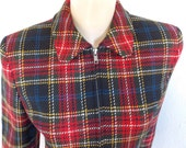 On RESERVE for Susan - Vintage Wool Jacket - Zip Front Tartan Plaid Wool Jacket