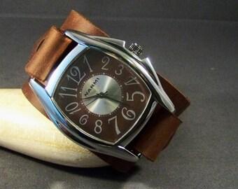 Leather Watch-Men Watch-Cuff Watch-Brown Watch-Women Watches-Wrist Watch-Gift For Her-Gift For Him-Friendship Bracelet-Gifts-Genuine Leather