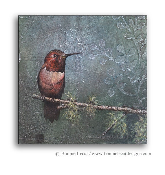 Hummingbird painting hummingbird art hummingbird decor for Hummingbird decor