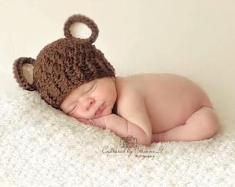Baby Boy Hat, 0 to 3 Months Baby Boy Hat, Baby Boy Teddy Bear Hat, Chocolate Brown with Cream Ears. Newborn Photo Props. Baby Gift. Kids.
