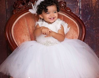 Pure White Snow Stunning Feather Tulle Girl Dress