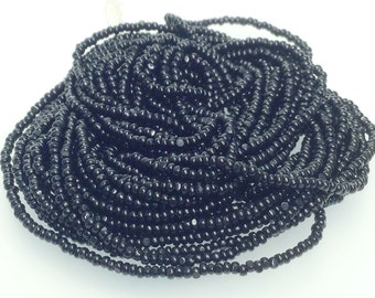 True Cut Seed Beads, Black Charlottes, Opaque, Size 13, Full Hank, 12 Strands, Vintage