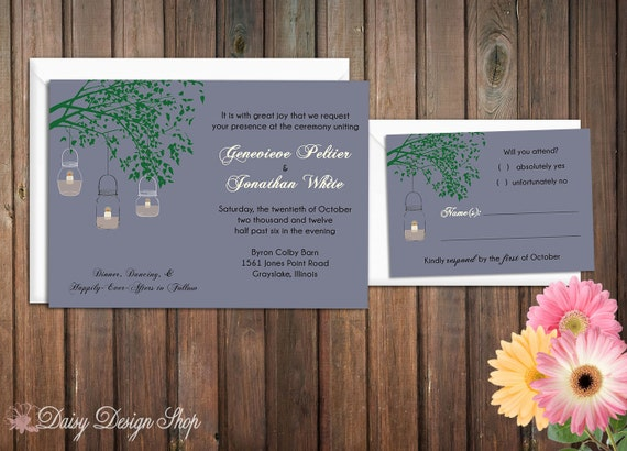 Wedding Invitation - Mason Jar Candles Hanging from a Tree Branch at Dusk - Invitation and RSVP Card with Envelopes