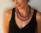 Purple loop necklace, fiber necklace with silk cord , circle necklace, fabric necklace, layered necklace
