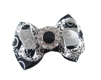 Black and White Rhinestone Dog Hair Bow - Sparkle and Bling for your Pooch | 540