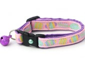 Easter Cat Collar - Egg Hunt on Pink - Kitten or Large Size