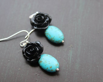 Turquoise and Black Rose earrings