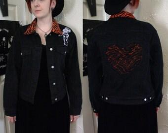 Upcycled DIY Black Denim Psychobilly Rockabilly Jacket Tiger Animal Print Lace Womens Large