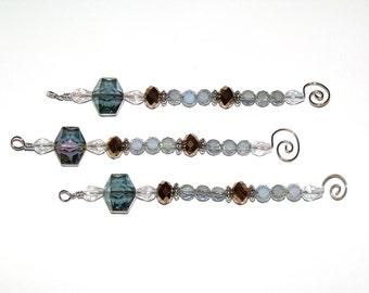 Dusty Blue and Copper Icicle Ornaments - Christmas holiday decor