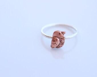 Small Bird Ring / Robin Ring / Dainty Ring Copper/ Silver and Copper/ Tiny Bird Ring/ Boho Bird Ring