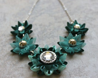 Teal Necklace, Teal Green Necklace, Teal Jewelry, Hunter Green Necklace, Green Statement Necklace, Chunky Flower Necklace, Prom Necklace