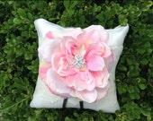 Blush Pink and Ivory Burlap Ring Bearer Pillow with Sparkling Crystal Center