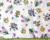 Cotton Fabric - Of Vine And Roses - Bunnies By The Bay For Clothworks - 1 Yard