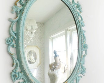 B E A C H Cottage Mirror Ornate Shabby Chic French Cottage Shell Motif