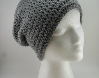 Solid Classic Style Beanie Hat in Grey Heather - Multiple sizes Made to Order Unisex Men Women Teen Children