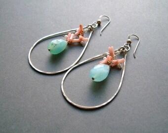 Peruvian Opal Earrings, Peach Coral Aqua Hoops, Blue Opal Hoop Earrings, Hammered Gold Teardrop Hoops, Peach Aqua, Boho Earrings