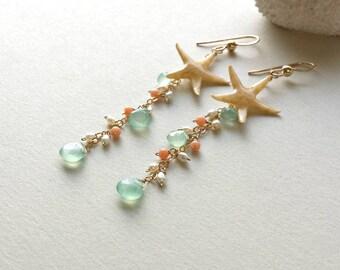Starfish Dangle Earrings, Real Starfish, Peach Aqua Cluster Dangle, Beach Cluster Earrings, Boho Beach Earrings, Peach Coral