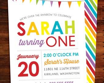 Rainbow Birthday invitations, double sided - set of 15