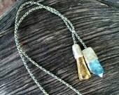 Copal Amber and Aqua Aura Necklace