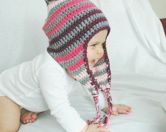 Crochet Baby Hat, Neon Pink Purple and Gray Stripes, Newborn, EarFlap, Pom Pom, Made to Order, 3-6 Months, 6-12 Months, Baby Girl