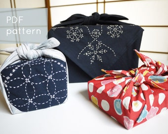 holiday furoshiki sashiko embroidery pattern - - winter snowflakes - - modern hand embroidery