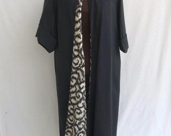 Vintage 50s 60s Coat Black Formal Evening Full Length with Black and Off White Lining L/XL Prom