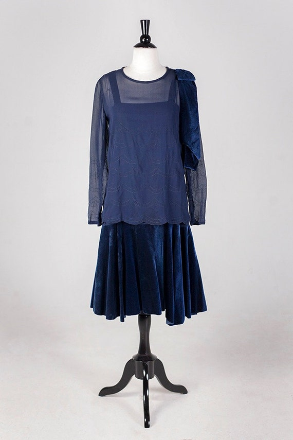 Vintage 1920s Gatsby Flapper Dress Set // Rare and Incredible Royal Blue Silk Velvet // Size 2-4// On hold