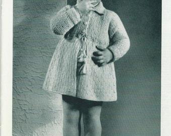 PDF Pattern Vintage 1940s Adorable Toddler Coat & Beret Knitting Pattern Instant Download