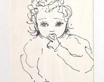 Portrait of Toddler by Dimitrie Berea, Drawing, 1957
