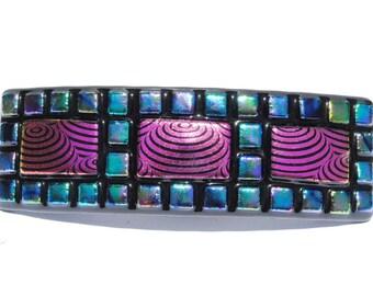 Fused Glass Barrette; Dichroic Glass Original Design; Large French Barrette; Mosaic Art - Bright Colorful, Fuchsia, Green (Item #50122-B)