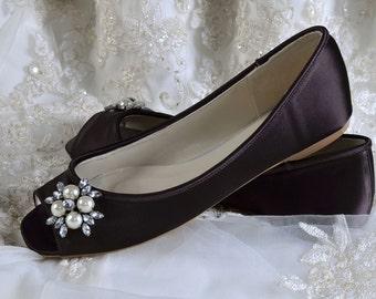 Wedding Shoes, Crystal Brooch, Custom Colors, Flat Peep Toe, Bridal Shoes.