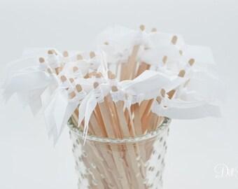 25 White Grosgrain Ribbon Drink Stirrers or Stir Sticks