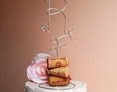 INITIAL Vineyard Wedding Cake Topper - Personalized Wine Lovers Wedding Cake Topper, Vineyard Wedding Decoration, Custom Wine Wedding Decor