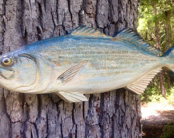 """Bluefish Sculpture 32"""" detailed chainsaw wood saltwater fish carving wall art indoor outdoor nautical decor beach cottage realistic art"""