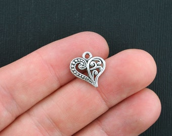 10 Heart Charms Antique Silver Tone 2 Sided - SC3487