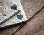 Heart Coasters, Cute Love Natural Tumbled Marble Rustic Coaster Set of 2, Handmade Shabby Chic Home Decor Shabby Simple Valentines Day
