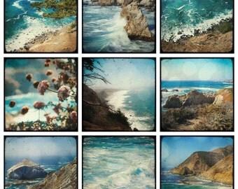 Big Sur - set of 9 PHOTOS, california photography gift set, pacific ocean photography