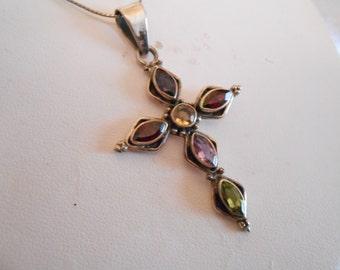 Vintage pendant, gemstone and silver cross pendant, silver chain, religious pendant, ornate cross, vintage jewelry, silver jewellery