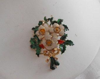 "Vintage brooch, signed ""Exquisite"" brooch, enamel floral bouquet brooch, 1950s retro brooch, vintage jewelry"