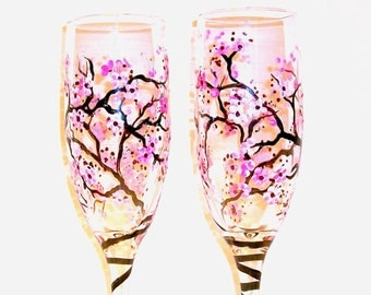 Cherry Blossoms Spring Wedding Cherry Blossoms Handpainted Champagne Flutes Set of 2 / 6 oz.