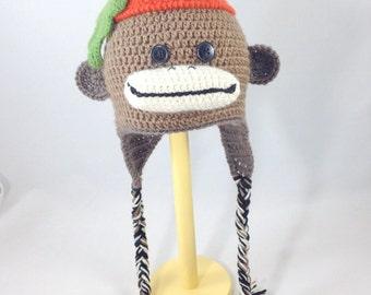 Toddler monkey hat, animal baby hat, toddler hat, crocheted monkey
