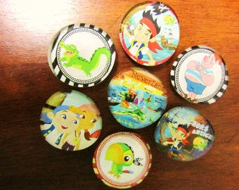 JAKE and the NEVER LAND PiRaTeS Glass Bubble Magnets